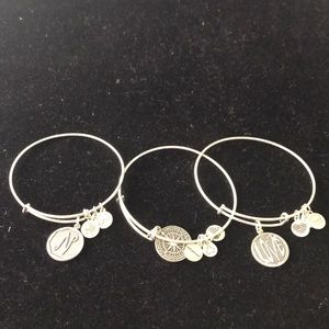 Lot of 3 Silver Tone Alex and Ani Bracelet/Bangle